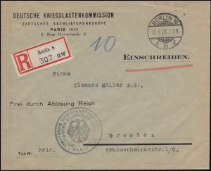Dienstbrief Deutsche Kriegslastenkommission Paris R-Brief BERLIN 30.8.1928