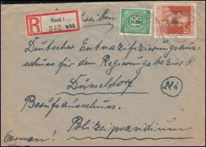 936 Ziffer 84 Pf + 963 Stephan auf R-Brief NEUSS 20.5.47 nach Düsseldorf