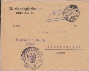 Frei durch Ablösung Reichsausgleichsamt BERLIN SW 48 - 20.10.25 nach Lichtenfels