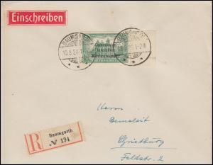 Marienwerder 27 Aufdruckmarke Randstück R-Brief BAUMGARTH 10.8.1920 n.Christburg