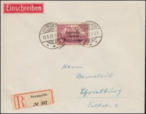 Marienwerder 29 Aufdruckmarke R-Brief BAUMGARTH 10.8.20 nach CHRISTBURG 12.8.20