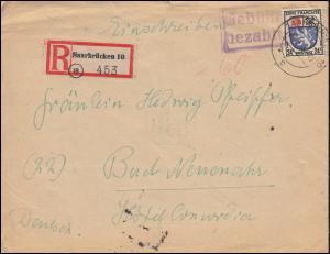 9 Freimarke Wappen mit Gebühr-bezahlt-Stempel R-Gebühr SAARBRÜCKEN 7.9.1946
