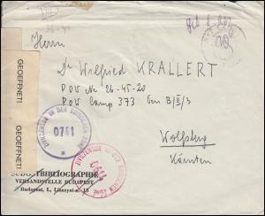 Kriegsgefangenenpost Zivilzensur Britische Zone 0741 und 0614 Bf.nach Wolfsberg
