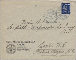 153 Wappenlöwe 2 Mark lila als EF auf Brief GAMLAKARLEBY 22.5.1930 nach Berlin