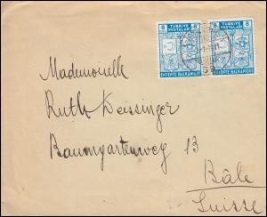 1076 Gründung des Balkan-Bundes 8 Ks. MeF auf Brief ISTANBUL 2.1.1941 nach Basel