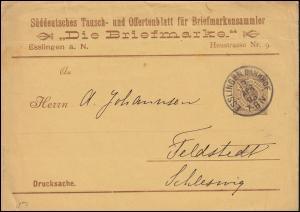 Württemberg PS 2 Ziffer 3 Pf. braun Streifband Die Briefmarke ESSLINGEN 13.4.95