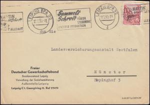 Fünfjahrplan 20 Pf. EF Brief FDGB LEIPZIG Sammelt Schrott 12.5.59 nach Münster