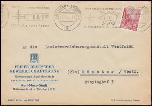 Fünfjahrplan 20 Pf. EF Brief FDGB Karl-Marx-Stadt / Chemnitz Lufthansa 18 1.4.61