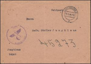 Feldpost aptierter Briefstempel vom PF 56041 Brief LUXEMBURG 18.8.44 an PF 45273