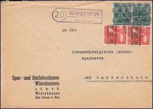 38I Band und 42II Netz als MiF auf Brief Landpost Wiershausen über Seesen 1948