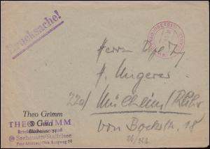 Gebühr-bezahlt-Stempel MURNAU (OBERBAY.) Februar 1950 auf Briefvorderseite