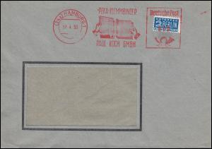 AFS Paul Koch PEKA KLEMMBINDER HAMBURG 17.4.1950 mit Notopfer auf Ortsbrief