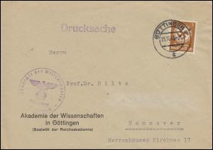 132 Dienstmarke 3 Pf als EF auf Drucksache GÖTTINGEN 25.10.43 nach Hannover