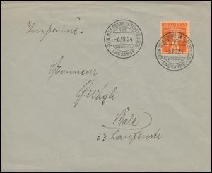 162 Tellknabe als EF auf Drucksache SSt LAUSANNE Tuberkulose-Konferenz 6.8.1924