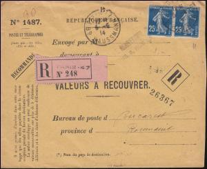 Dienstbrief VALEURS A RECOUVRER mit 119 MeF R-Brief Not-R-Zettel PARIS 5.5.1914