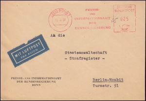 AFS Presse- und Informationsamt der Bundesregierung BONN 15.10.51 auf Brief