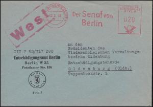 AFS Senat von Berlin Entschädigungsamt BERLIN-WILMERSDORF 2.3.59 nach Osnabrück