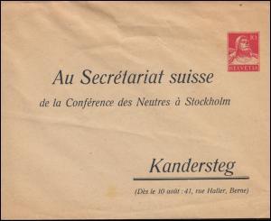 Schweiz Privatumschlag Tell Sekretariat Konferenz Neutraler Staaten in Stockholm