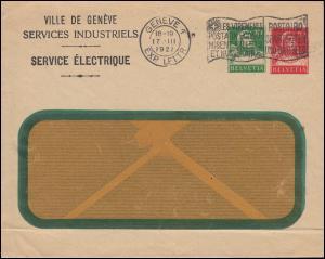 Schweiz Privatumschlag Fensterbrief Tell 10 C. grün + 10 C. rot, GENF 17.3.1921