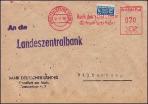 AFS Bank deutscher Länder FRANKFURT / MAIN 8.12.48 mit ungezähnter Notopfermarke