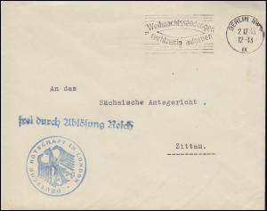 Frei durch Ablösung Reich Deutsche Botschaft London über BERLIN 2.12.33 n.Zittau