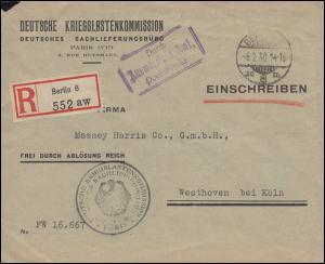Frei durch Ablösung Reich Deutsche Kriegslastenkommission Paris, BERLIN 6.2.1930