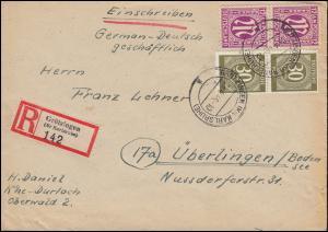 7 AM-Post 12 Pf. mit 928 Gemeinschaft MiF R-Brief GRÖTZINGEN (KARLSRHE) 9.4.1946