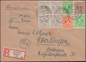 2+3+5+6 AM-Post-Marken auf R-Brief KARLSRUHE (BADEN) 29.1.1946 nach ÜBERLINGEN