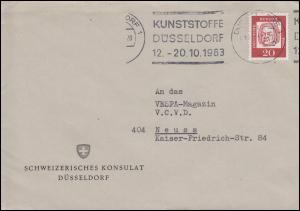 352y Bach 20 Pf EF auf Brief Schweizerisches Konsulat DÜSSELDORF 1963 nach Neuss