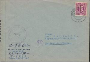 Zensurbrief 7 AM-Post 12 Pf. als EF auf Brief SCHORNDORF (WÜRTT.) 23.11.1945
