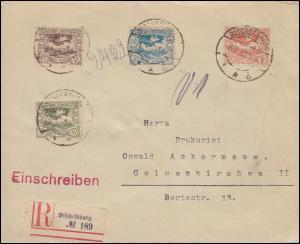Oberschlesien 16+18+19+21 Freimarken auf R-Brief BISCHOFSBURG 8.1.1920
