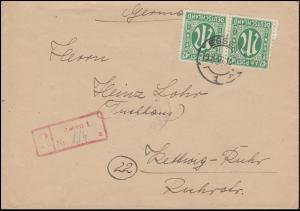 31 AM-Post 42 Pf. Paar als MeF R-Brief Not-R-Stempel ESSEN 19.3.46 nach KETTWIG