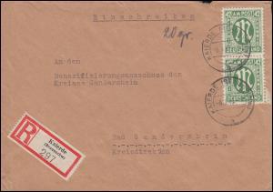 31 AM-Post 42 Pf. senkrechtes Paar als MeF R-Brief KAIERDE (BRAUNSCHWEIG) 8.3.46