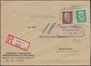 411+420 Hindenburg auf R-Brief Polnisches Konsulat BERLIN 2.6.32 n. Magdeburg