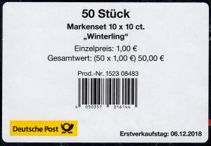 FB 81 Blume Winterling 10 Cent, Folienblatt-BANDEROLE ohne DHL-Code