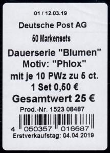 FB 87 Blume Phlox, Folienblatt-BANDEROLE ohne DHL-Code
