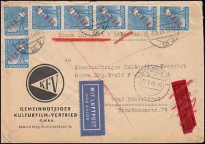 26 Rotaufdruck 20 Pf als MeF auf Eilbrief BERLIN 6.8.49 nach DÜSSELDORF 7.8.49