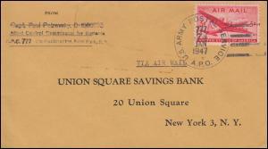 USA-Feldpost: Luftpost-Brief US ARMY POSTAL SERVICE 777 - 7.1.1947 nach New York