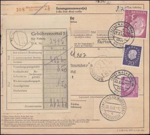 196x+179x+306 auf Paketkarte NACKENHEIM über MAINZ 23.3.62 nach DORNBIRN 27.3.62