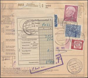 196x ff auf Paketkarte NEUENBURG über MÜLLHEIM 28.9.62 nach DORNBIRN 2.10.62