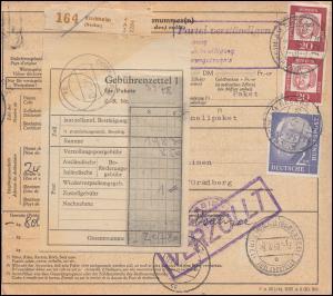196x+352y auf Paketkarte KIRCHHEIM (NECKAR) 6.4.62 n. Österreich DORNBIRN 10.4.