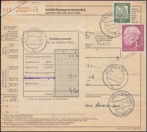 196x+350y auf Paketkarte MÖNCHENGLADBACH 16.5.62 nach Österreich DORNBIRN 22.5.