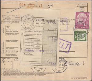 196x+350x auf Paketkarte STEINBACH (Kr. BÜHL) nach Österreich DORNBIRN 9.5.1962