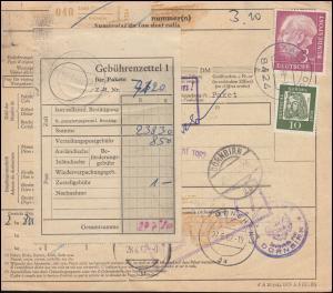 196x+350x auf Paketkarte SAAL / DONAU 25.6.62 nach Österreich DORNBIRN 28.6.1962