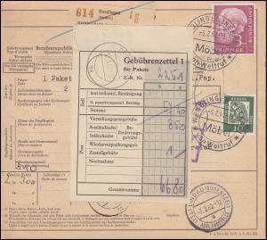 196x+350y auf Paketkarte SSt WENDLINGEN 5.2.62 nach Österreich DORNBIRN 8.2.