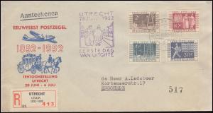 593-596 Reichstelegraphen-Satz auf Schmuck-R-FDC mit ESSt UTRECHT 28.6.1952