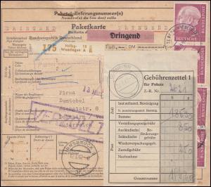 196x+184x+361y auf Paketkarte HEIDELBERG-WIEBLINGEN 9.3.62 nach DORNBIRN 12.3.62