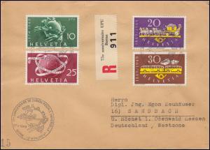 Schweiz 520-523 Post / UPU R-Brief Sonder-R-Zettel UPU-SSt BERN 27.5.1949
