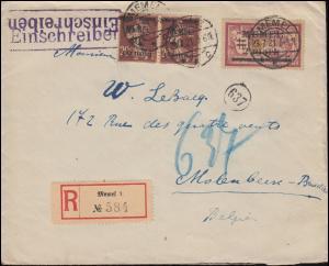 22+28 Freimarken mit Aufdruck als MiF auf R-Brief MEMEL 23.7.1921 nach Belgien