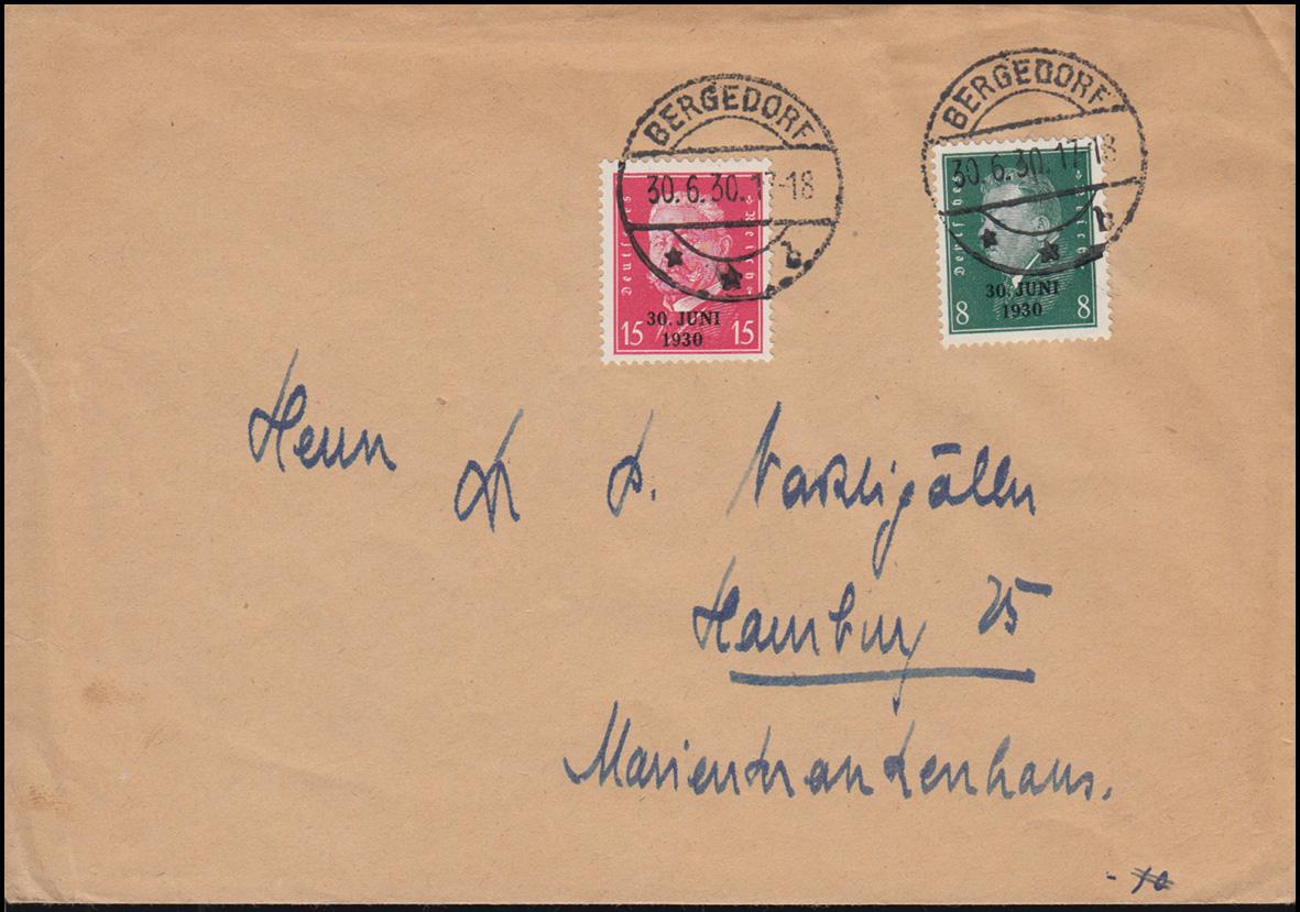 444-445 Aufdruck 30 Juni 1930 als Satz-FDC mit Ersttagsstempel BERGEDORF 30.6.30 0